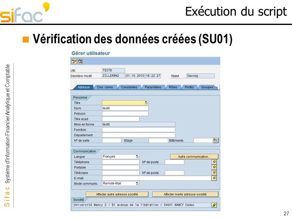 Vérification des données créées (SU01)