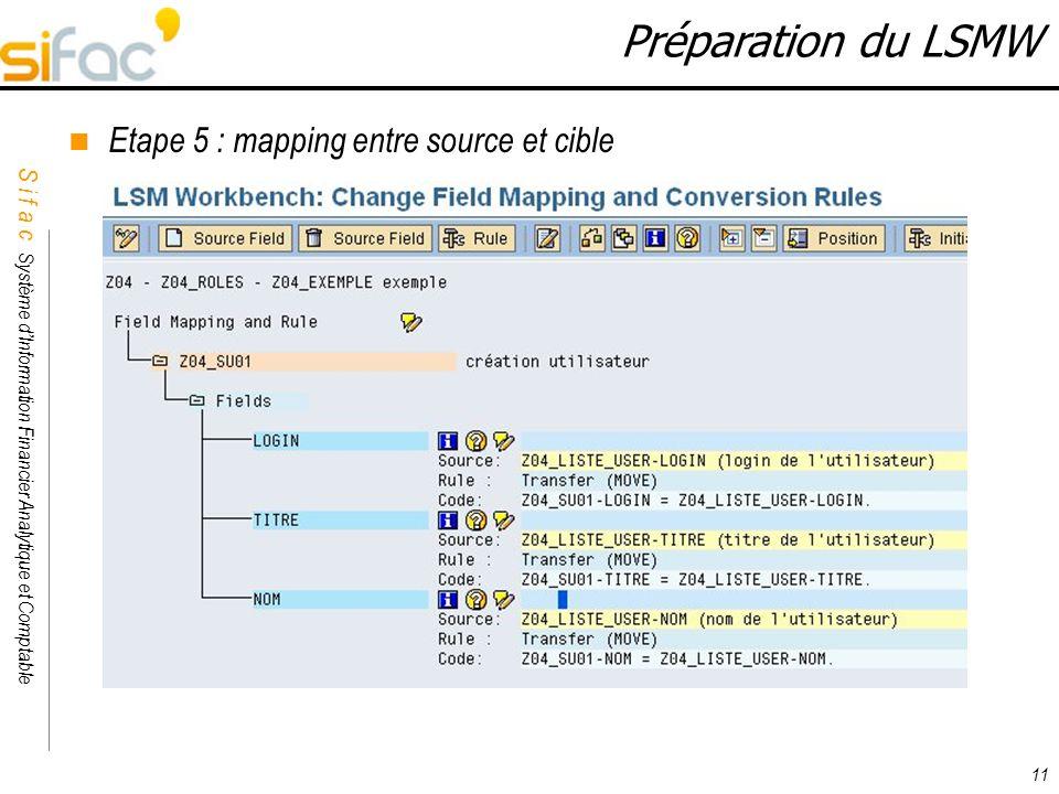 Préparation du LSMW Etape 5 : mapping entre source et cible 11