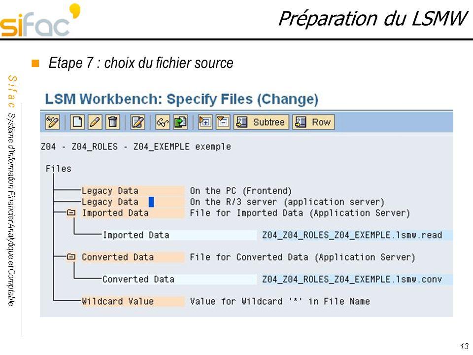 Préparation du LSMW Etape 7 : choix du fichier source 13