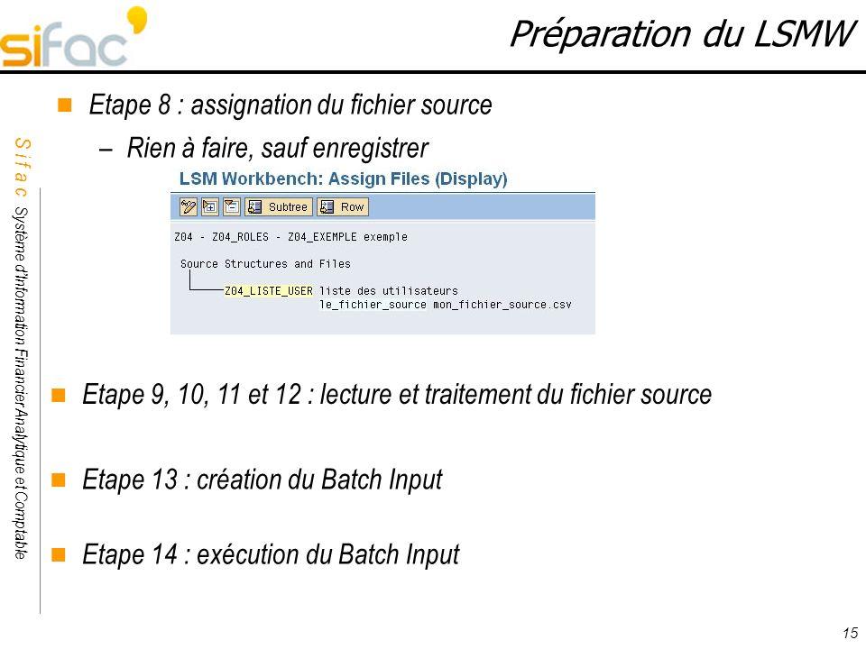 Préparation du LSMW Etape 8 : assignation du fichier source