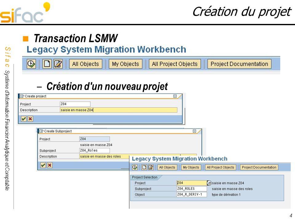 Création du projet Transaction LSMW Création d un nouveau projet 4