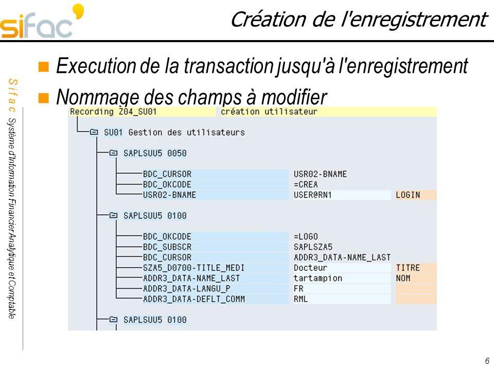 Execution de la transaction jusqu à l enregistrement