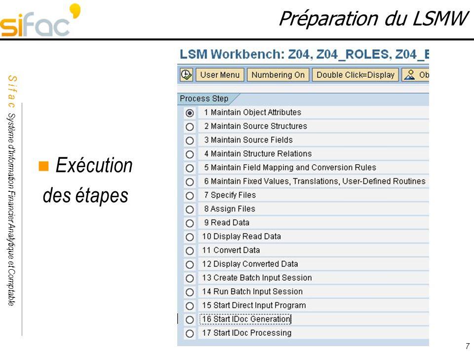 Exécution des étapes Préparation du LSMW 7
