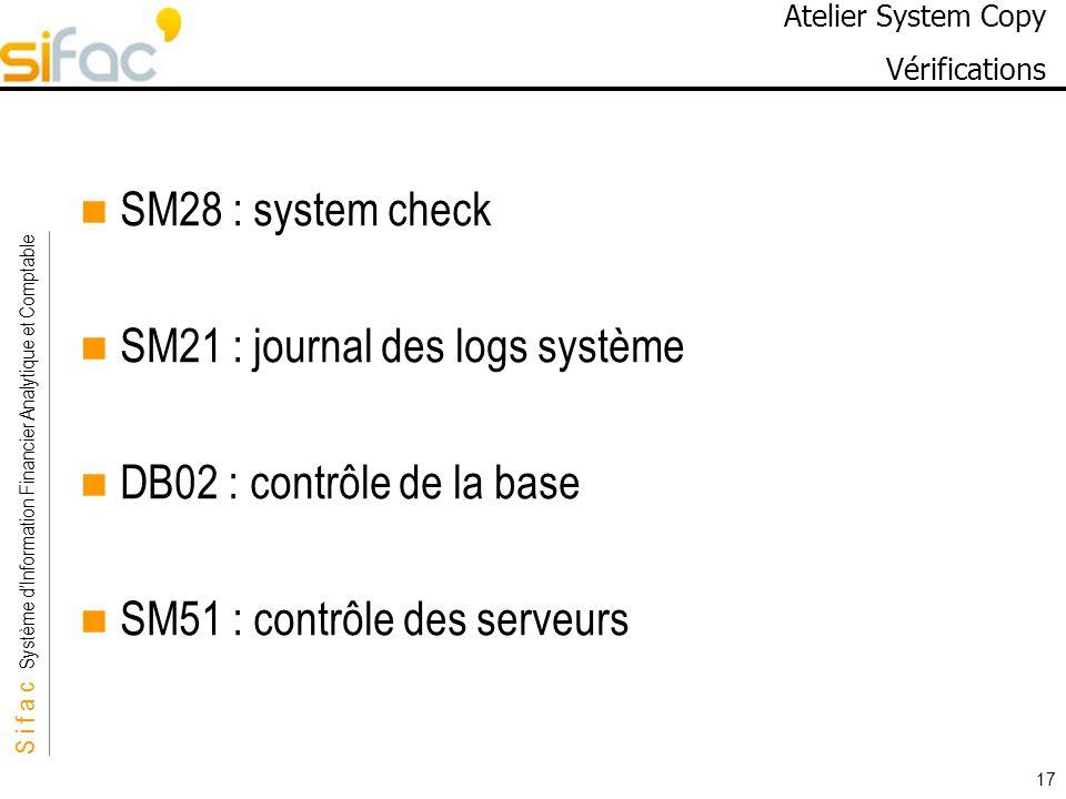 Atelier System Copy Vérifications