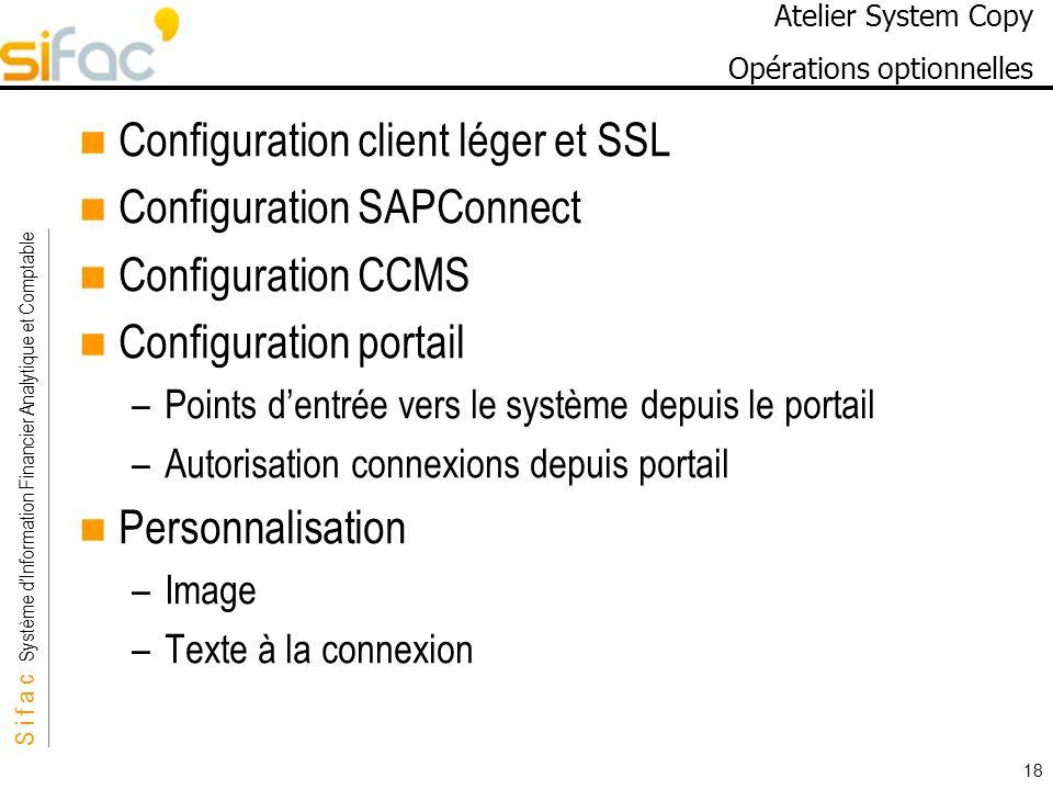 Atelier System Copy Opérations optionnelles