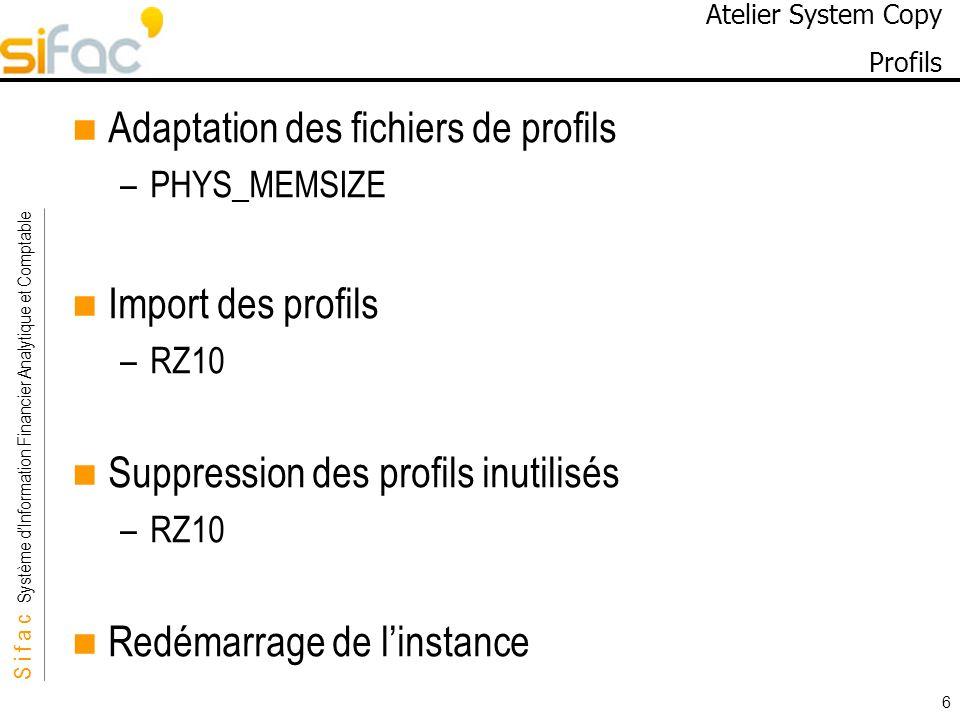 Atelier System Copy Profils