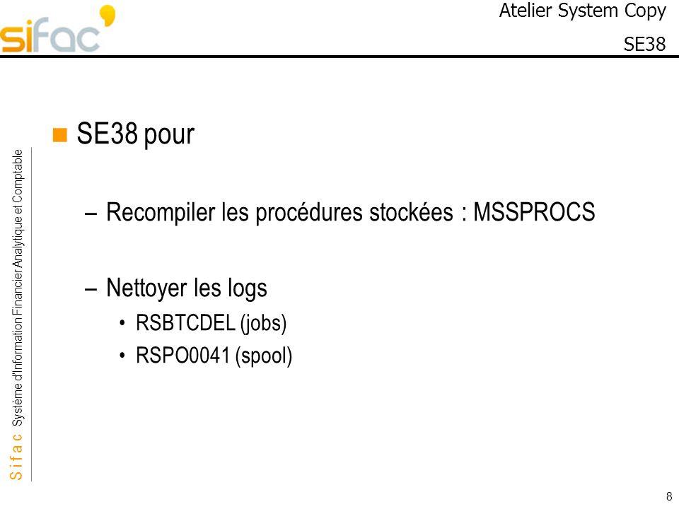 SE38 pour Recompiler les procédures stockées : MSSPROCS