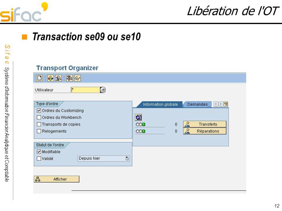 Libération de l OT Transaction se09 ou se10 12 12
