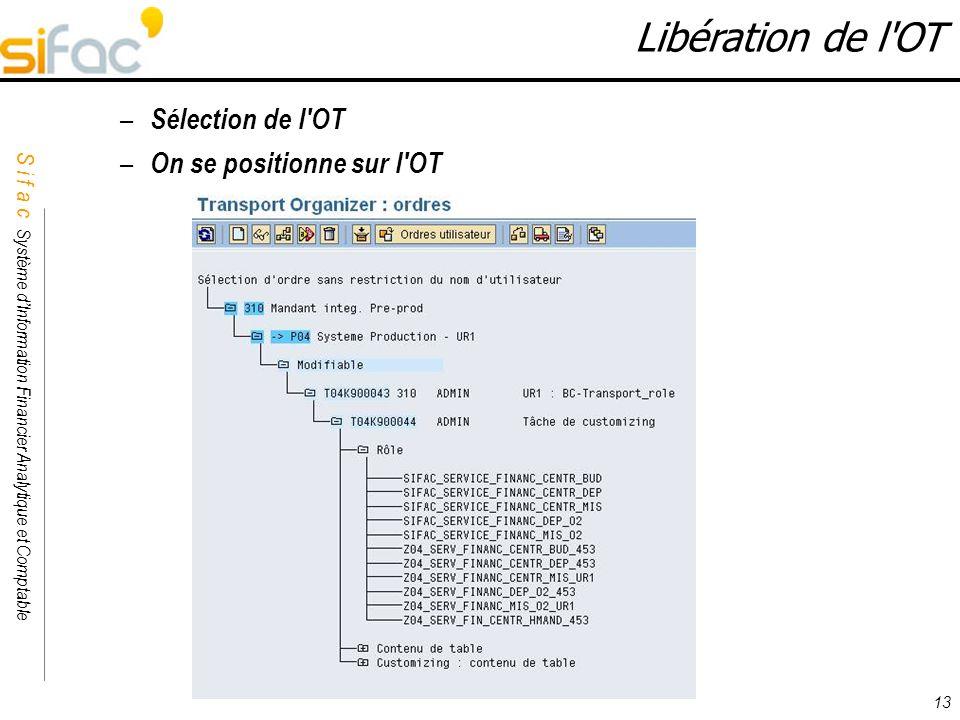 Libération de l OT Sélection de l OT On se positionne sur l OT 13 13