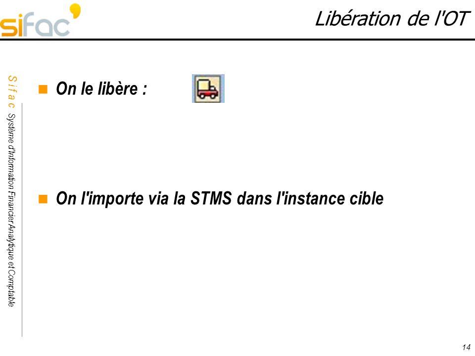 Libération de l OT On le libère :