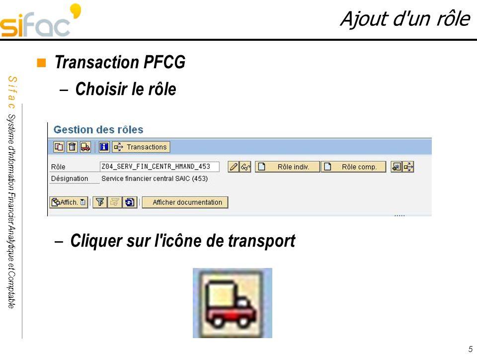 Ajout d un rôle Transaction PFCG Choisir le rôle