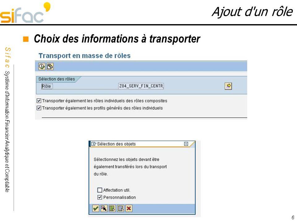 Ajout d un rôle Choix des informations à transporter 6 6