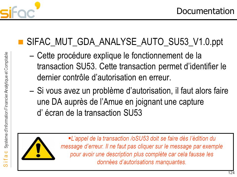 Documentation SIFAC_MUT_GDA_ANALYSE_AUTO_SU53_V1.0.ppt.