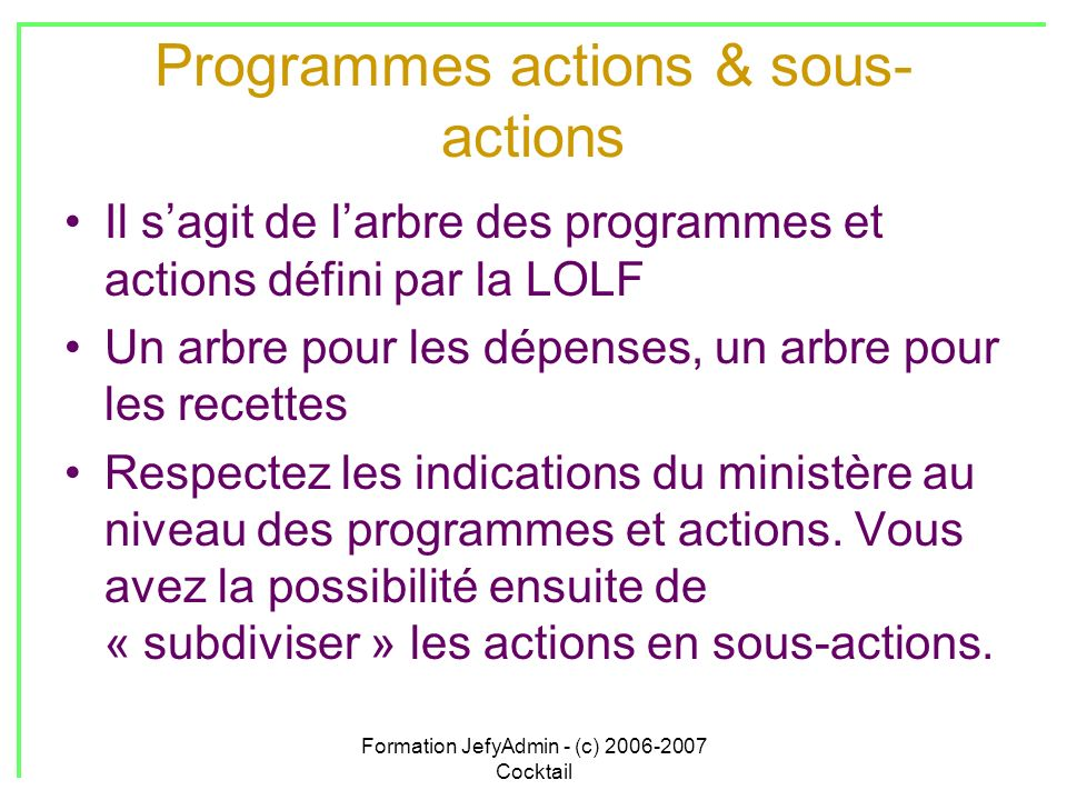 Programmes actions & sous-actions
