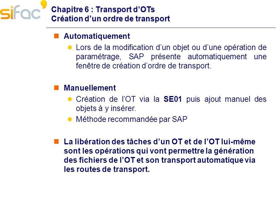 Chapitre 6 : Transport d'OTs Création d'un ordre de transport