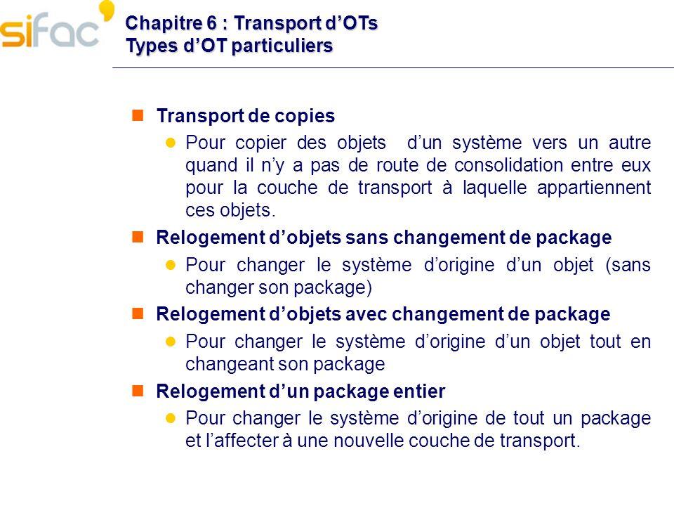 Chapitre 6 : Transport d'OTs Types d'OT particuliers