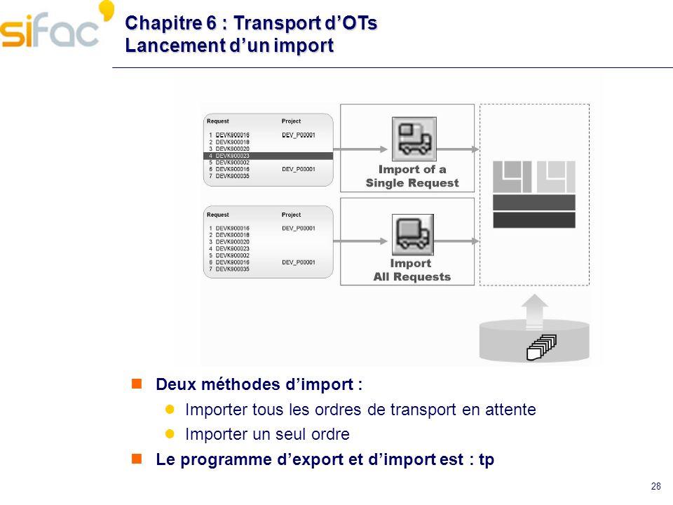 Chapitre 6 : Transport d'OTs Lancement d'un import
