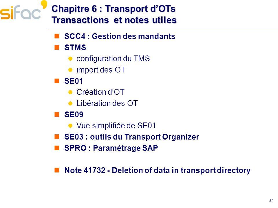 Chapitre 6 : Transport d'OTs Transactions et notes utiles