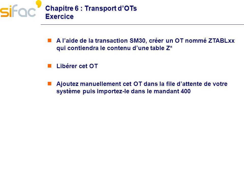 Chapitre 6 : Transport d'OTs Exercice