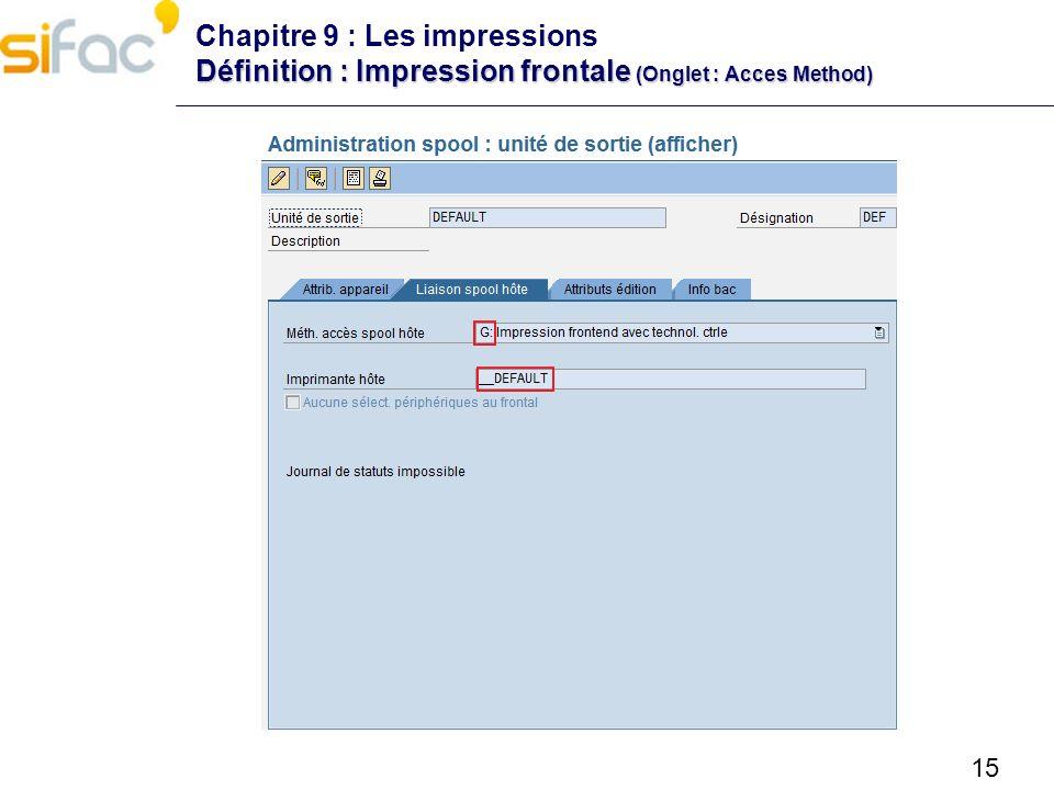 Chapitre 9 : Les impressions Définition : Impression frontale (Onglet : Acces Method)