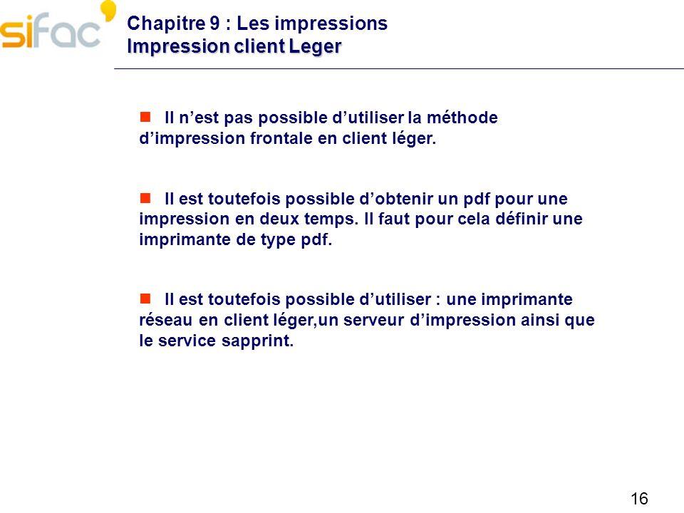Chapitre 9 : Les impressions Impression client Leger