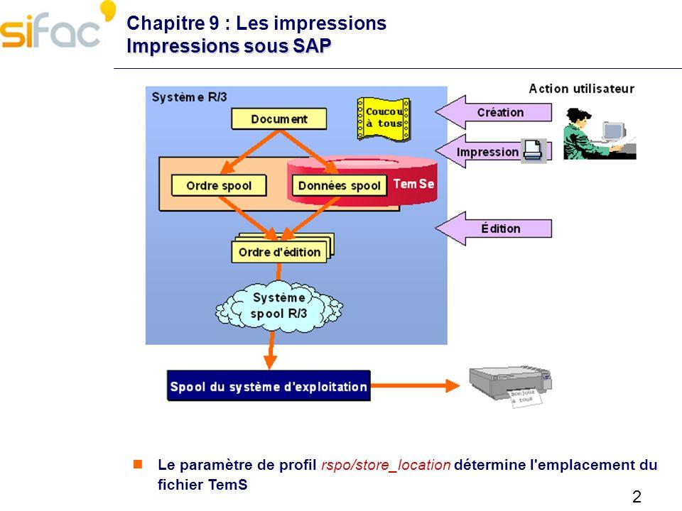 Chapitre 9 : Les impressions Impressions sous SAP