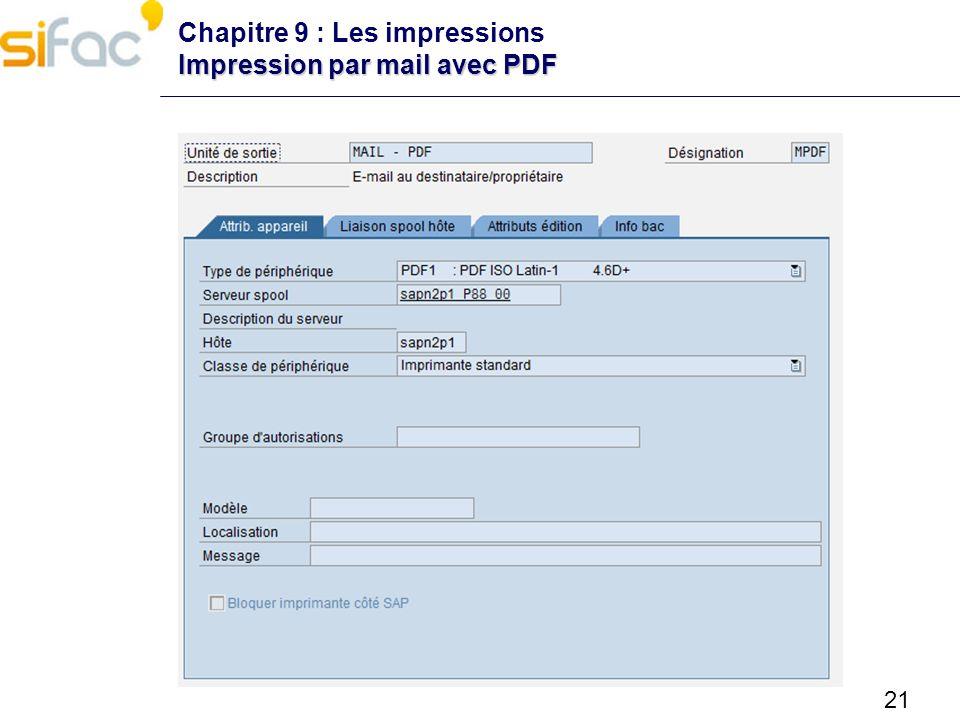 Chapitre 9 : Les impressions Impression par mail avec PDF