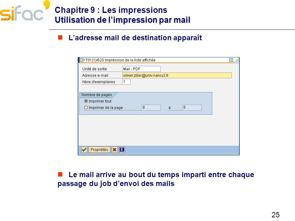 Chapitre 9 : Les impressions Utilisation de l'impression par mail