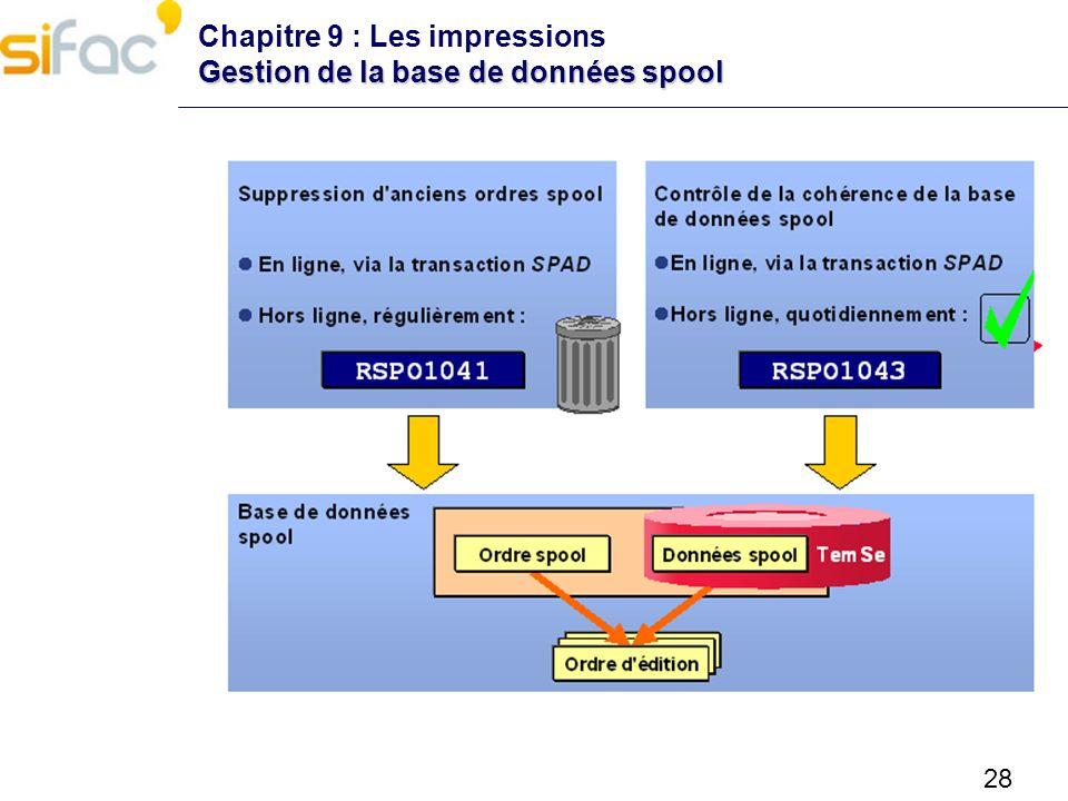 Chapitre 9 : Les impressions Gestion de la base de données spool