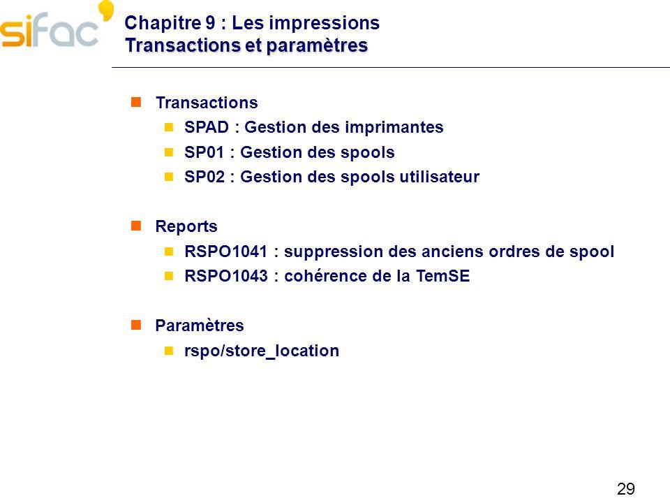 Chapitre 9 : Les impressions Transactions et paramètres