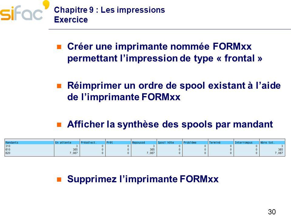 Réimprimer un ordre de spool existant à l'aide de l'imprimante FORMxx