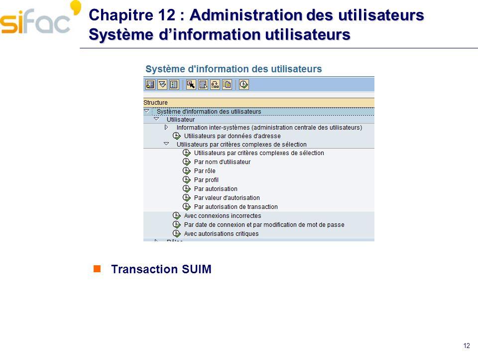 Chapitre 12 : Administration des utilisateurs Système d'information utilisateurs