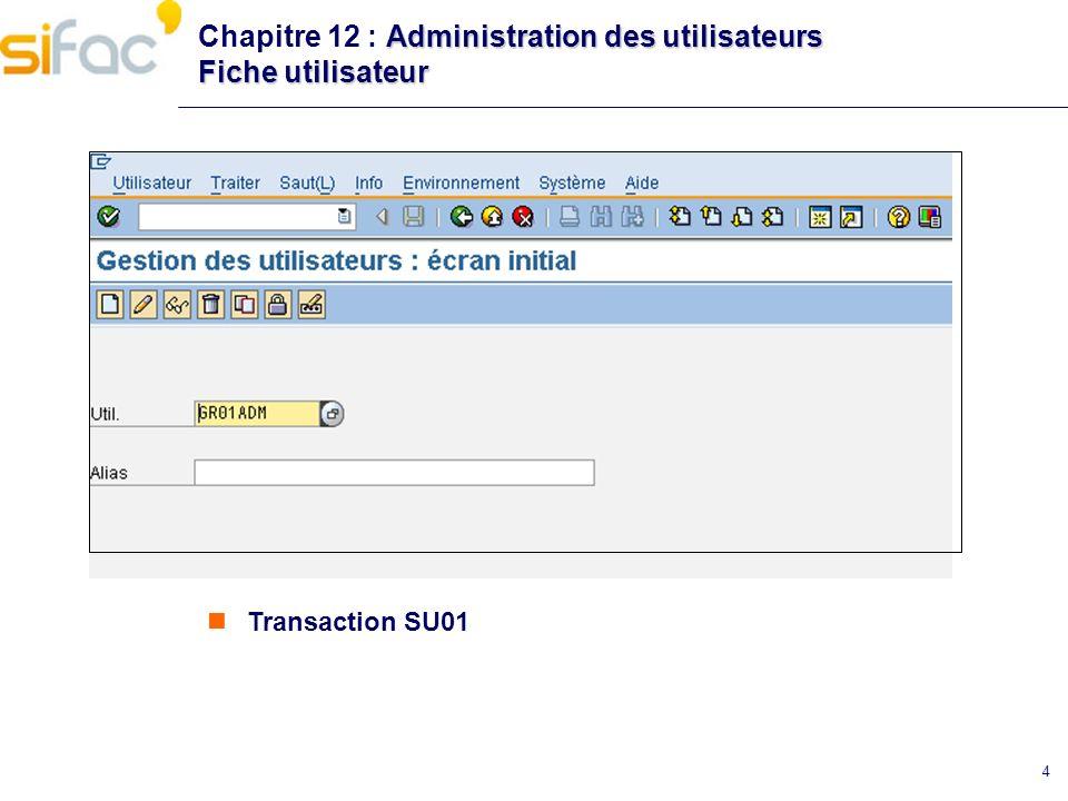 Chapitre 12 : Administration des utilisateurs Fiche utilisateur