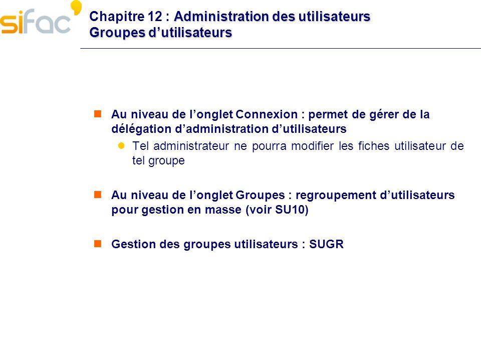Chapitre 12 : Administration des utilisateurs Groupes d'utilisateurs