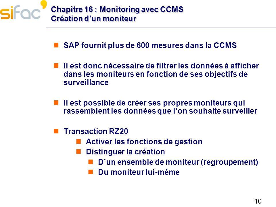 Chapitre 16 : Monitoring avec CCMS Création d'un moniteur