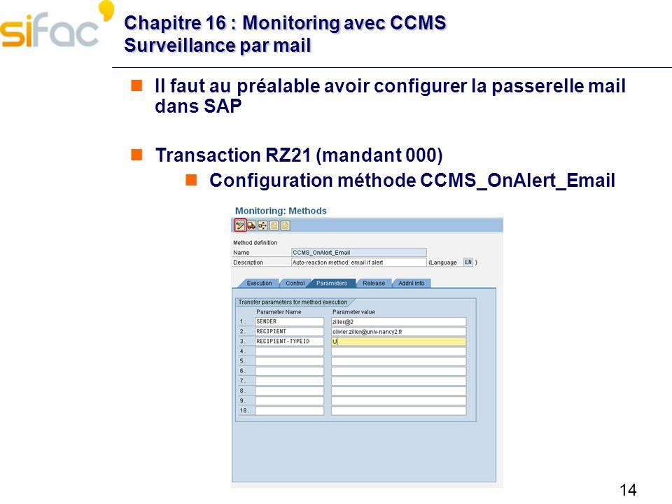 Chapitre 16 : Monitoring avec CCMS Surveillance par mail