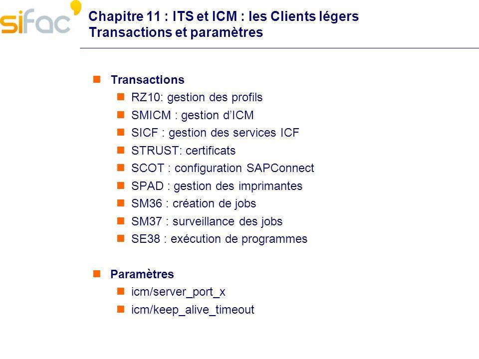 Chapitre 11 : ITS et ICM : les Clients légers Transactions et paramètres