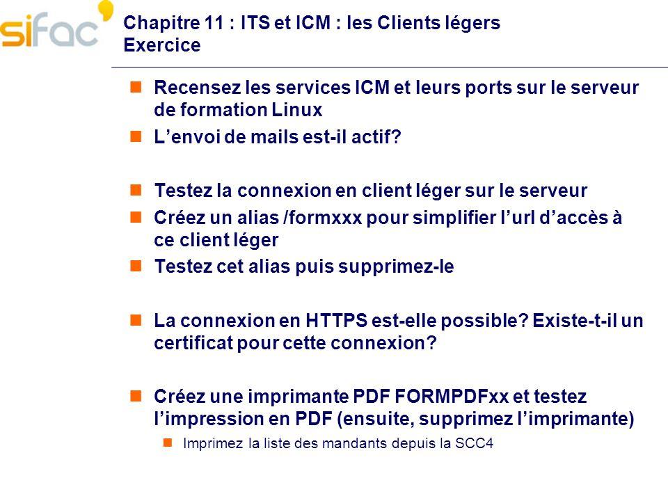 Chapitre 11 : ITS et ICM : les Clients légers Exercice