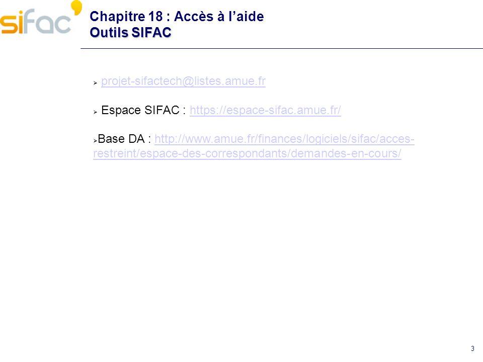 Chapitre 18 : Accès à l'aide Outils SIFAC