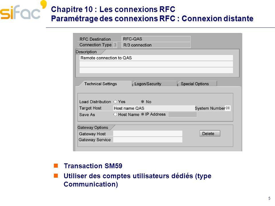 Chapitre 10 : Les connexions RFC Paramétrage des connexions RFC : Connexion distante