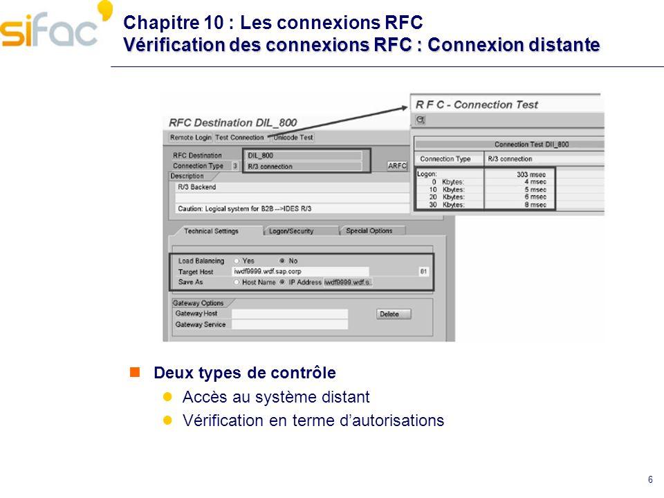 Chapitre 10 : Les connexions RFC Vérification des connexions RFC : Connexion distante