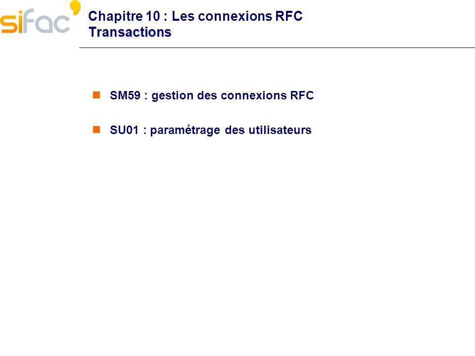 Chapitre 10 : Les connexions RFC Transactions