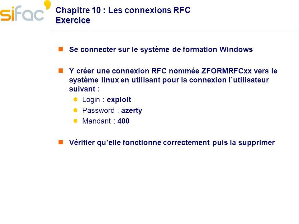 Chapitre 10 : Les connexions RFC Exercice