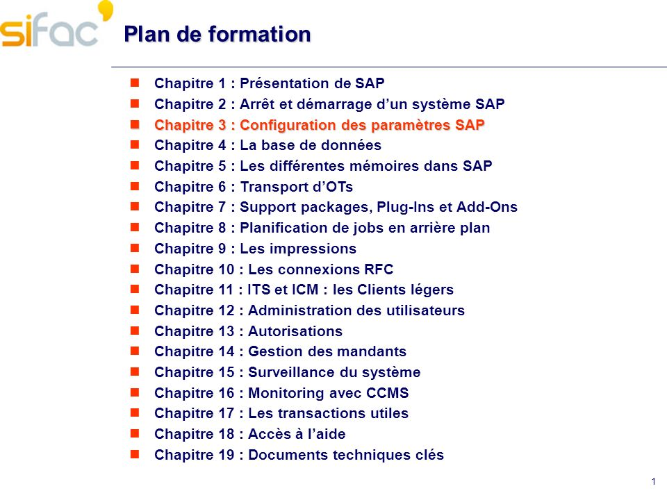 Plan de formation Chapitre 1 : Présentation de SAP