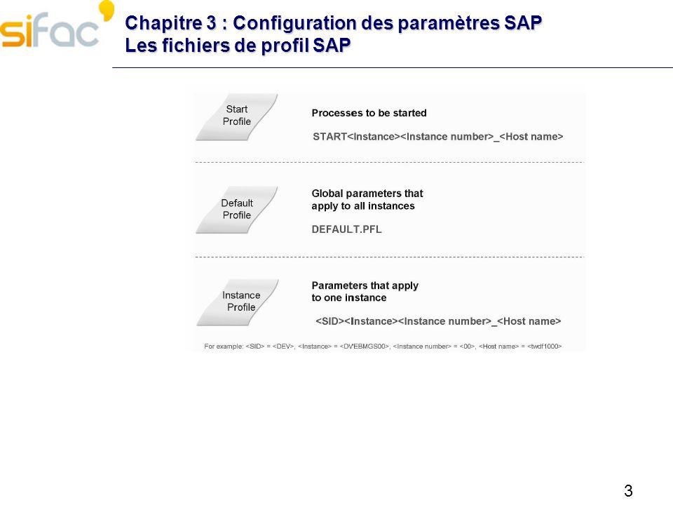 Chapitre 3 : Configuration des paramètres SAP Les fichiers de profil SAP