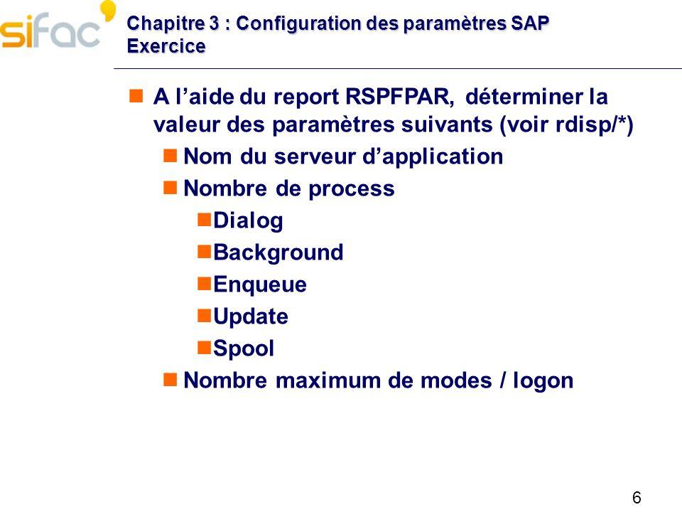 Nom du serveur d'application Nombre de process Dialog Background