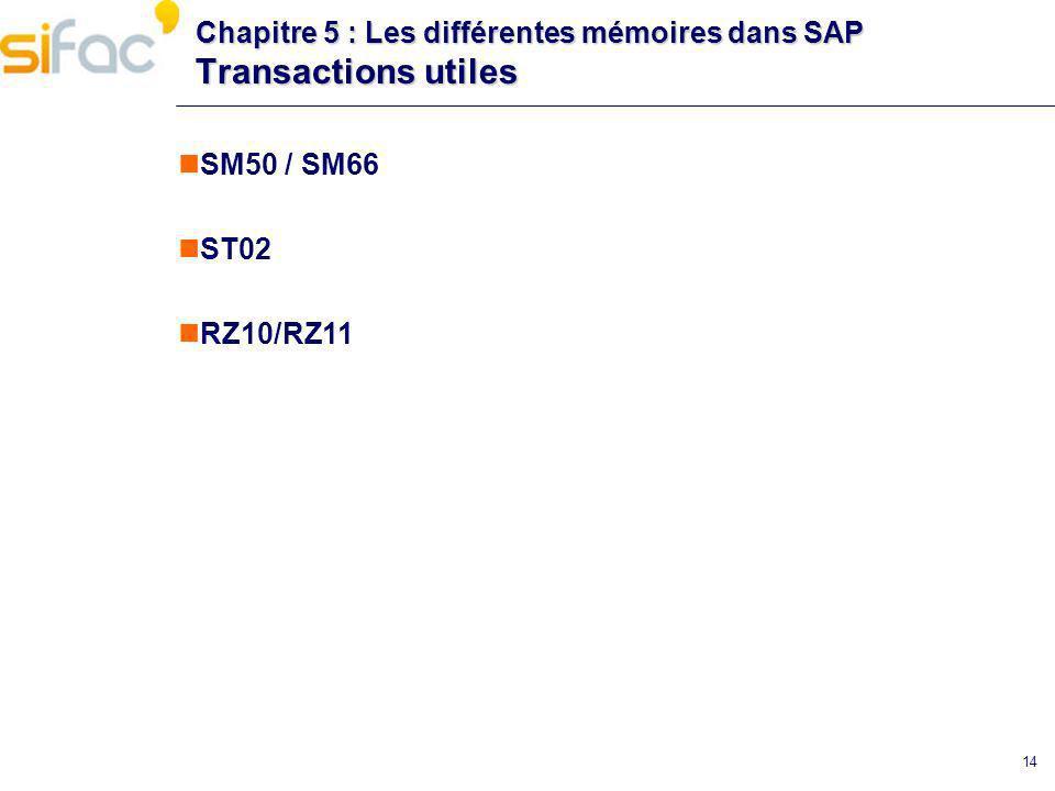 Chapitre 5 : Les différentes mémoires dans SAP Transactions utiles
