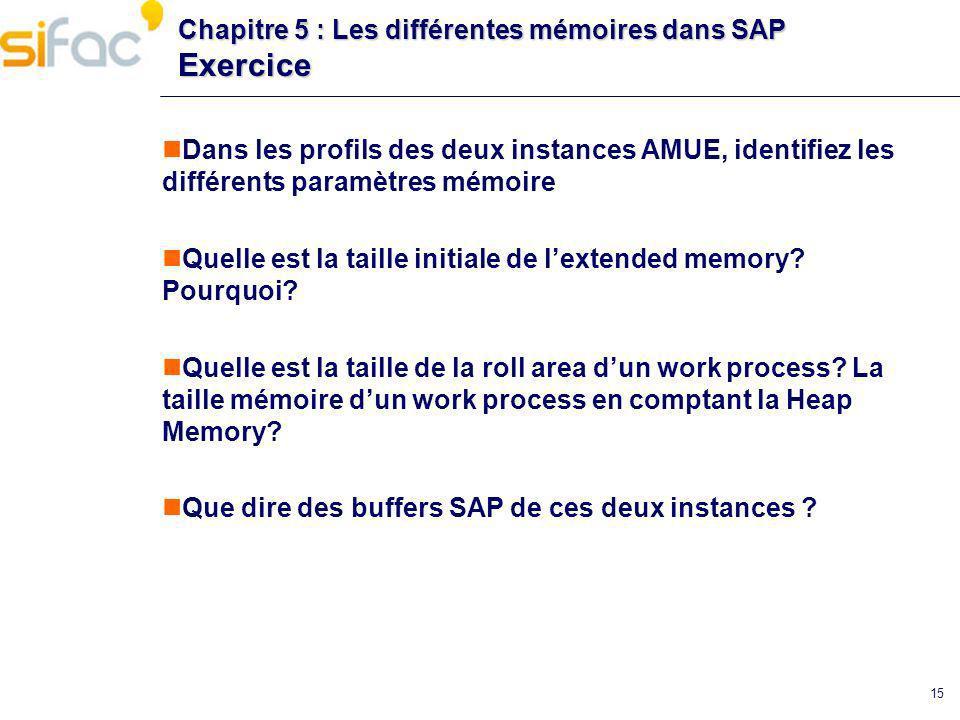 Chapitre 5 : Les différentes mémoires dans SAP Exercice