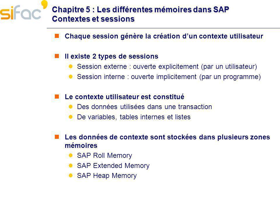 Chapitre 5 : Les différentes mémoires dans SAP Contextes et sessions