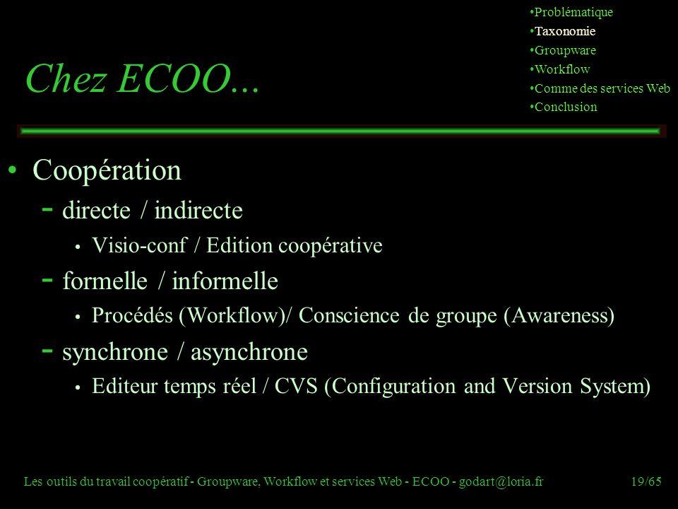 Chez ECOO... Coopération directe / indirecte formelle / informelle
